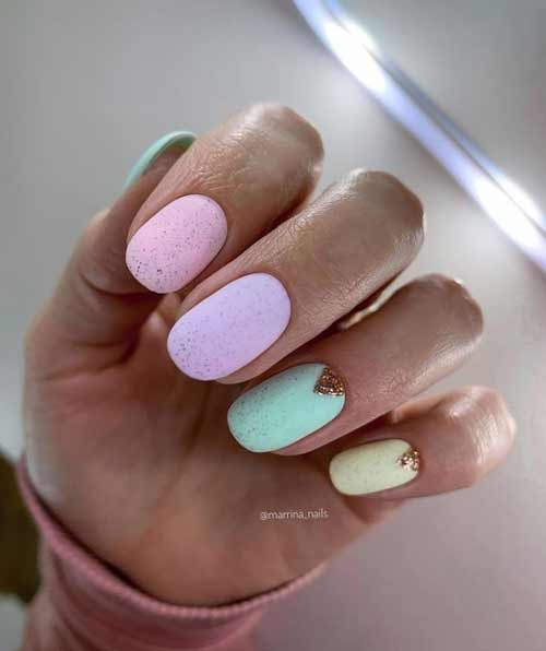Lilac with mint yellow and pink