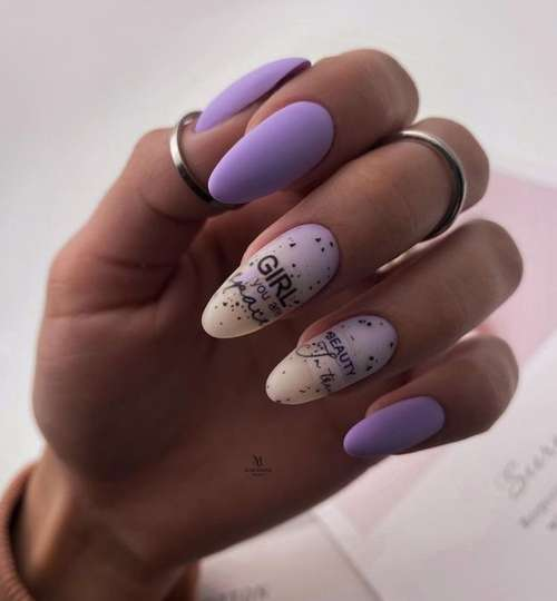 Lilac matte with sliders manicure