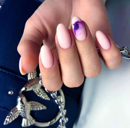 Lilac flower nail design