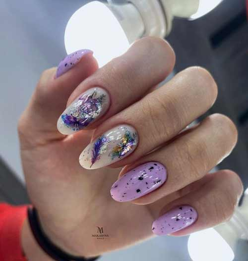 Lilac with sliders manicure
