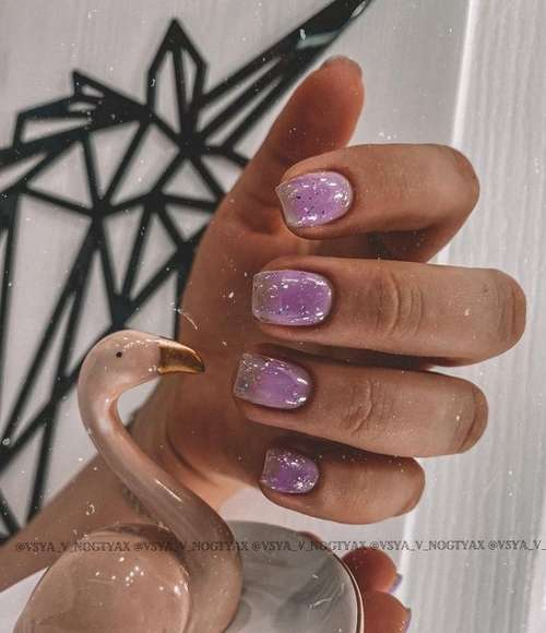 Lilac camouflage base on nails