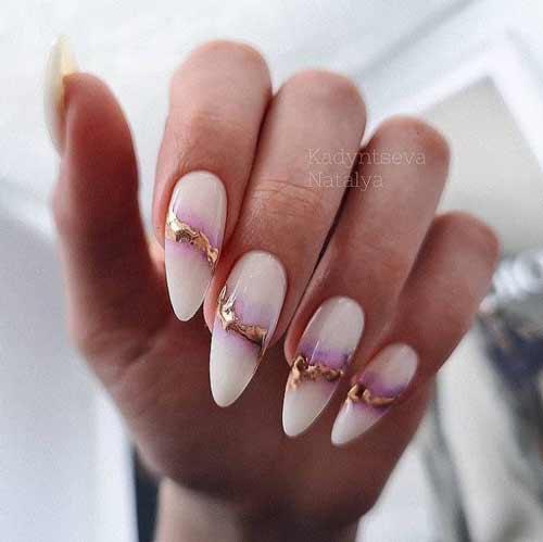 Long nails lilac manicure