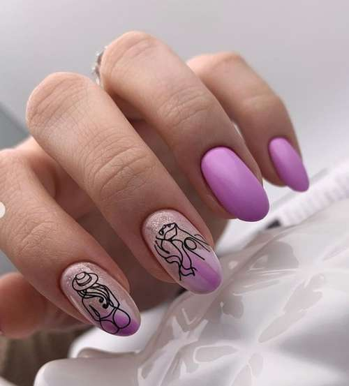 Lilac manicure in the photo