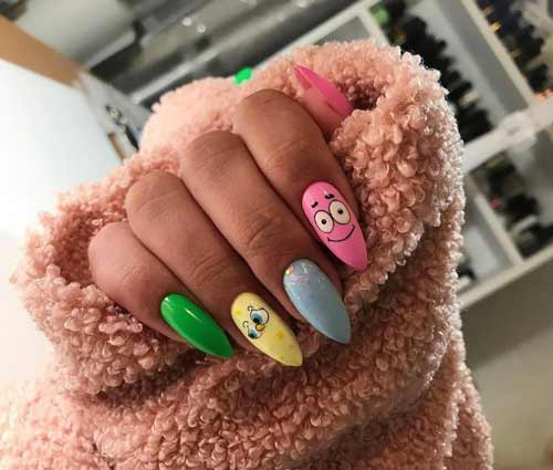 Funny drawing on a pink background of nails