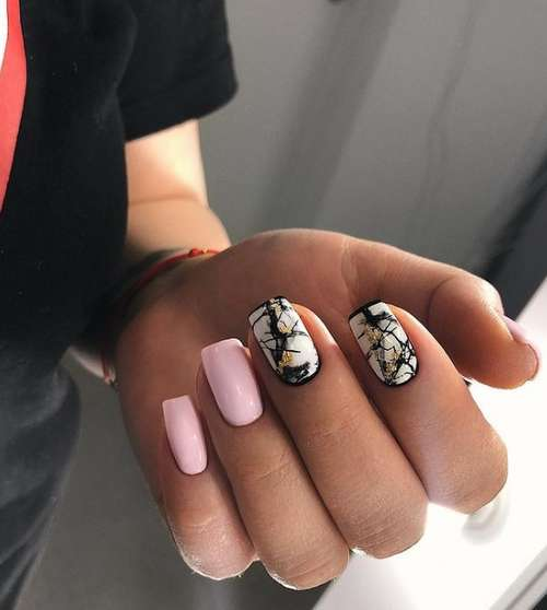 Manicure in pink and black tones