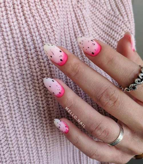 Ombre in neon pink shades nails