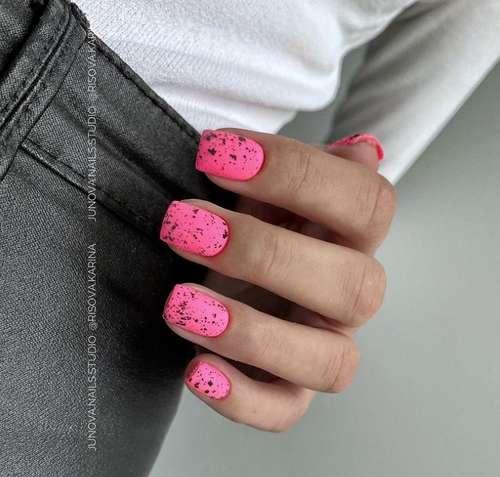 Hot pink quail print manicure