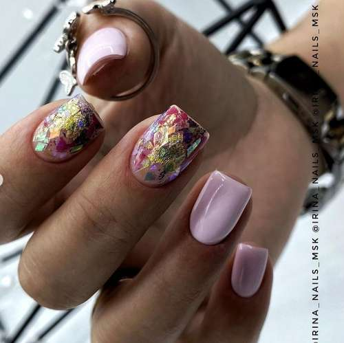 Pink manicure with colored foil