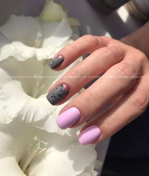 Manicure short nails in pink tones