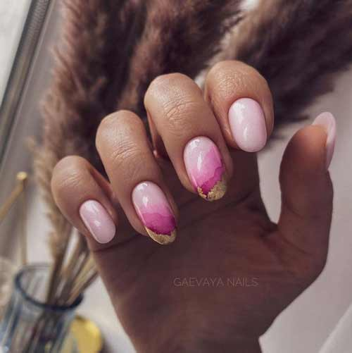 Pink manicure with foil photo
