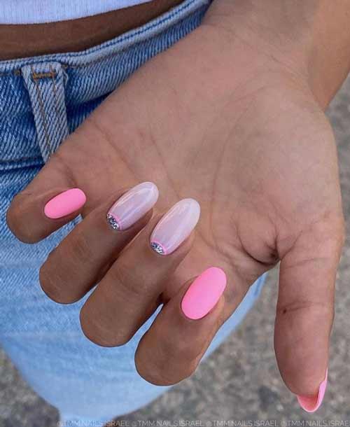 Lunar pink matte manicure