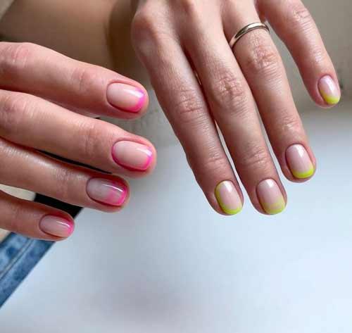 Pink manicure short nails
