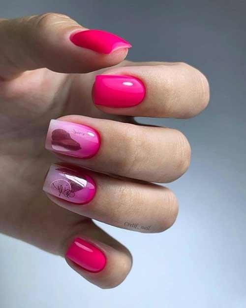 Bright fuchsia manicure