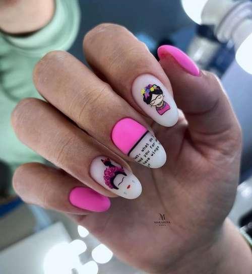 Pink neon manicure