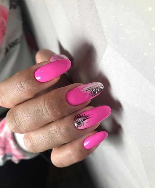 Neon pink long nails