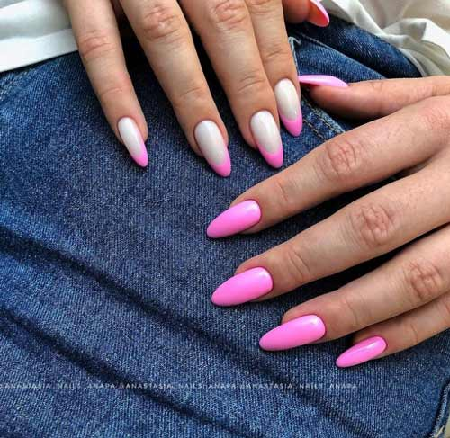 Different manicure of hands in pink tones