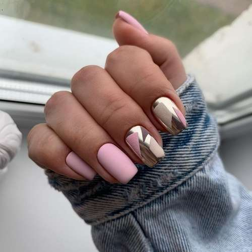 Pink manicure with rub
