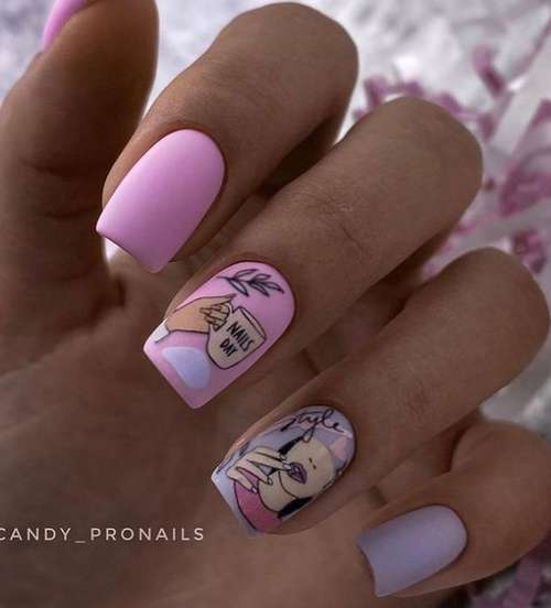 Manicure in pink and lilac tones