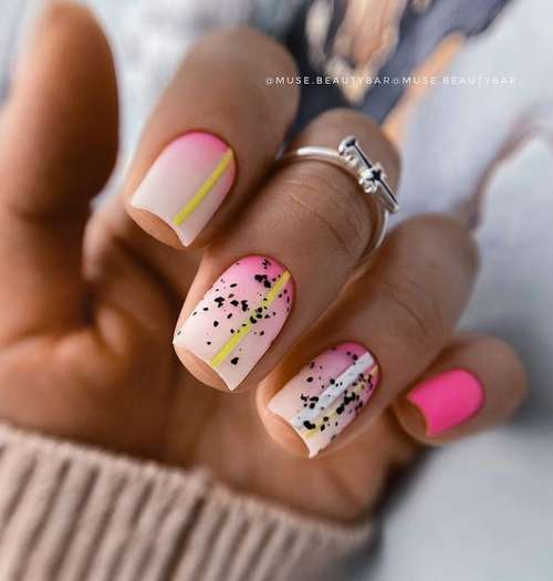 Milky pink gradient on nails photo
