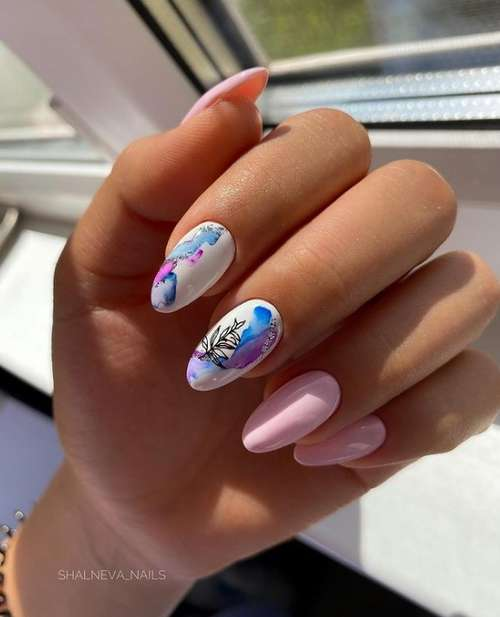 Pink and blue manicure