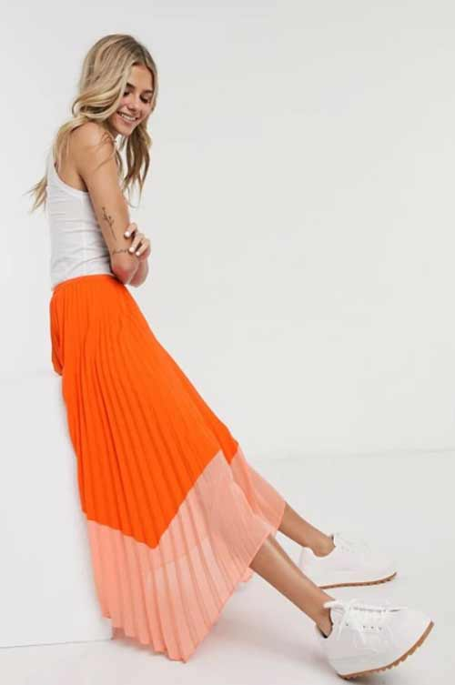 Two-tone skirt with what to wear