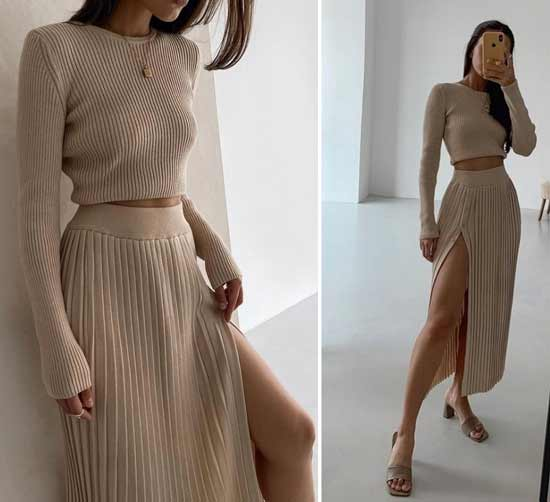 How to wear a pleated midi skirt with a slit