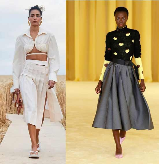 Midi skirt 2021: fashion models, photos with what to wear a skirt below the knees