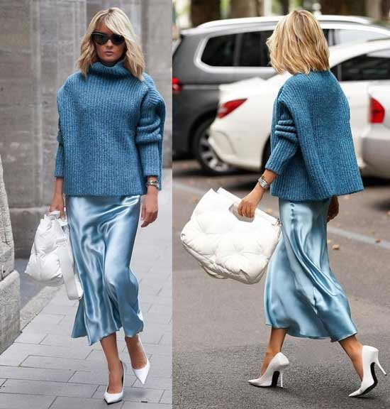 What to wear with a light blue skirt