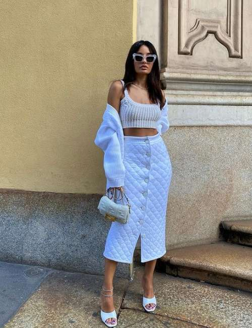 Fashionable quilted skirt with what to wear