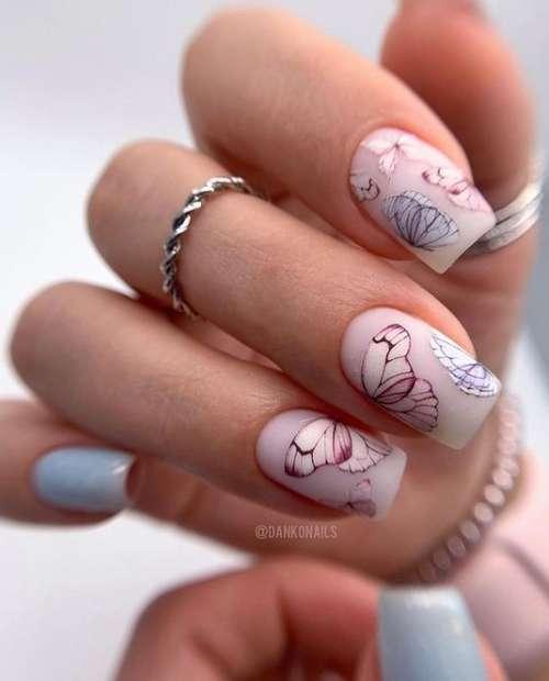 Butterflies on short nails