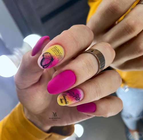 Fuchsia manicure with butterfly