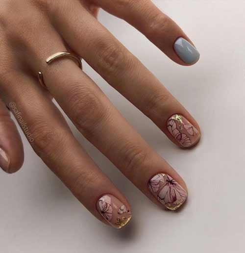 Beautiful manicure with foil and butterflies