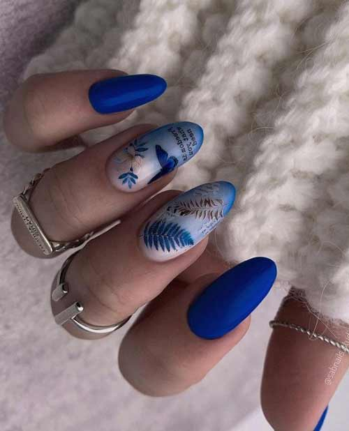 Blue butterfly on nails