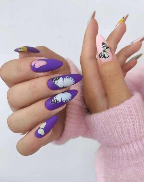 Manicure different hands with butterflies