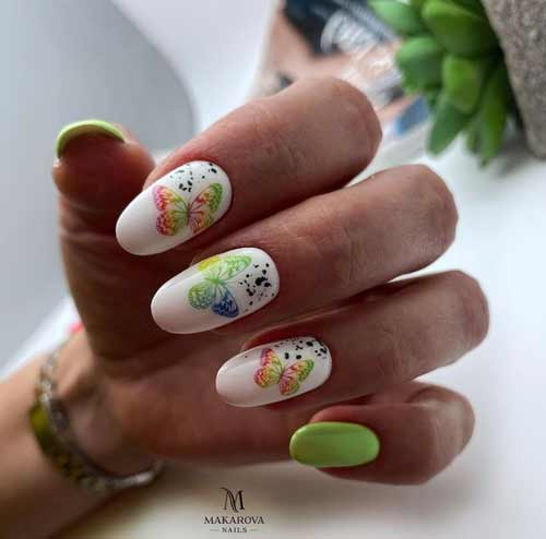 Spring manicure with butterflies