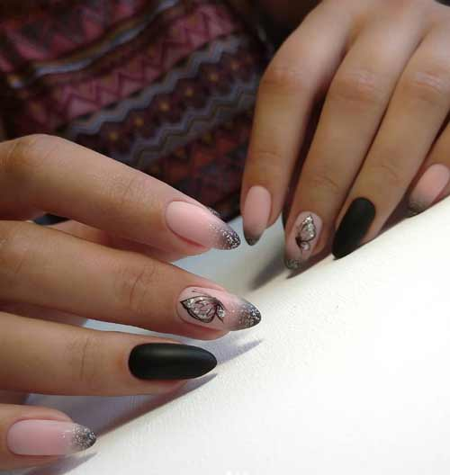 Butterfly wing in black and beige manicure