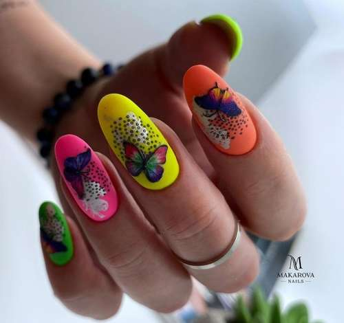 Bright nails with butterflies