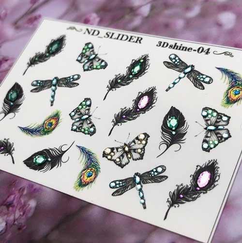 Black butterflies with rhinestones