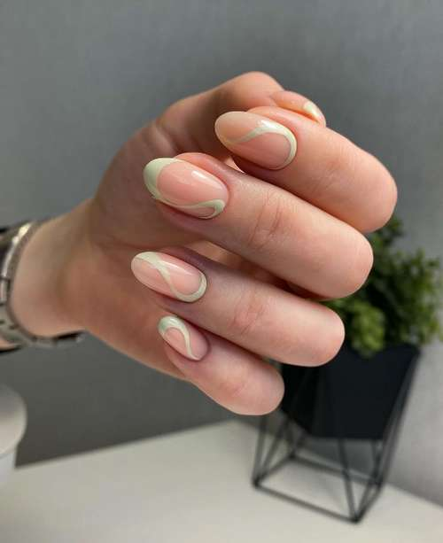 Mint French short nails