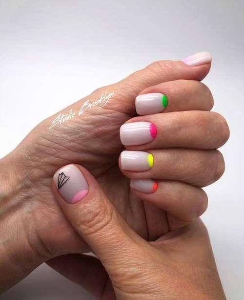 Lunar manicure colored short nails