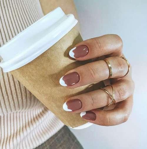 Golden French short nails