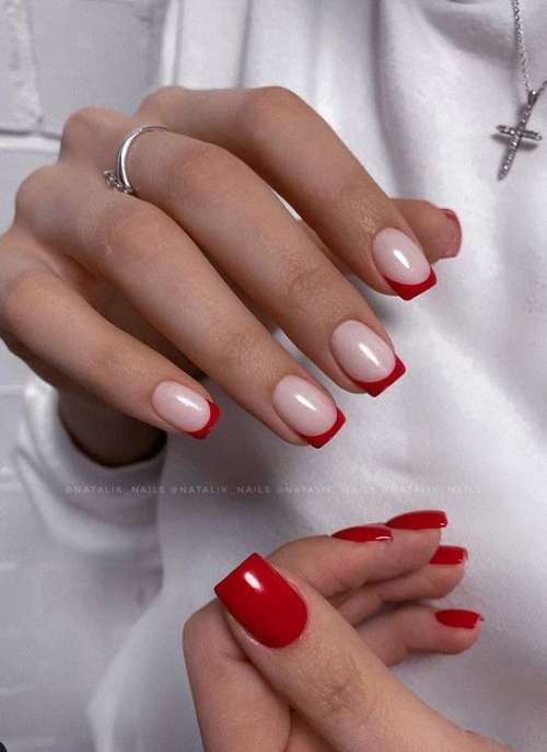 Red French short nails