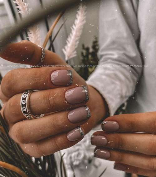 Silver French short nails