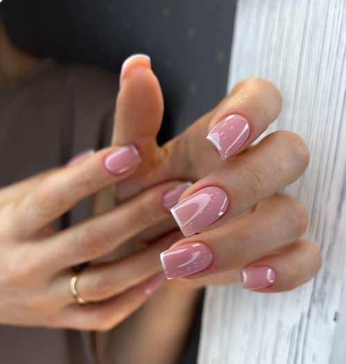 a selection of ideas for a colored jacket for short nails