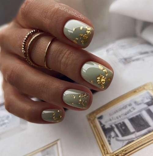 Mint manicure with foil