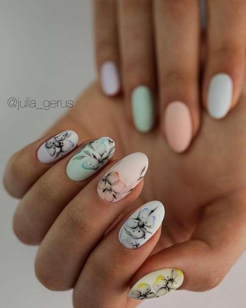Delicate short manicure ideas