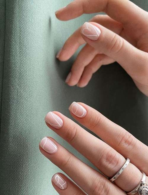 Very short nails delicate design