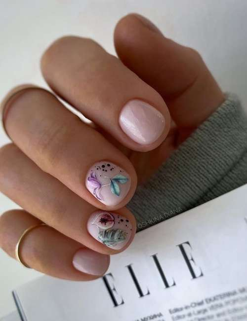 Delicate manicure for very short nails