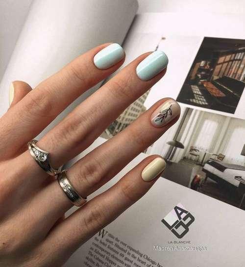 Delicate blue manicure