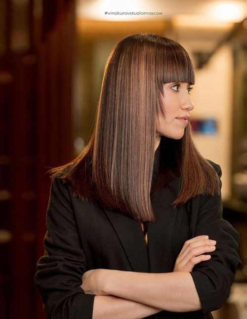 straight bangs with side lengthening